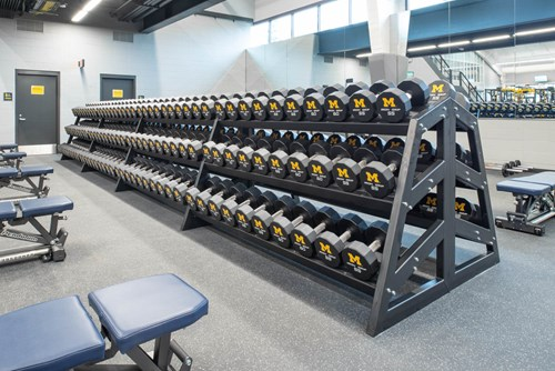 Dumbbell Racks at University of Michigan football weight room